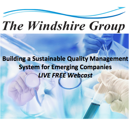 Building A Sustainable Quality Management System For Emerging Companies -LIVE FREE Webcast